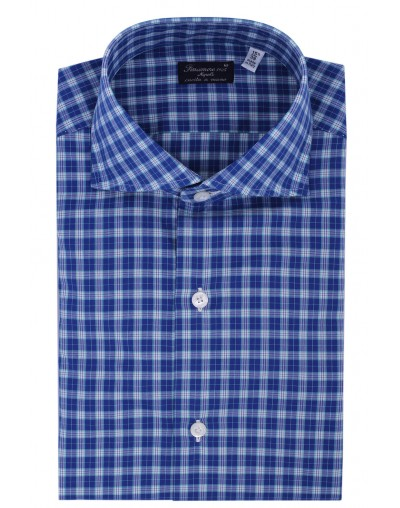 Dress shirt Finamore 1925 Napoli regular white and blue aquamarine check