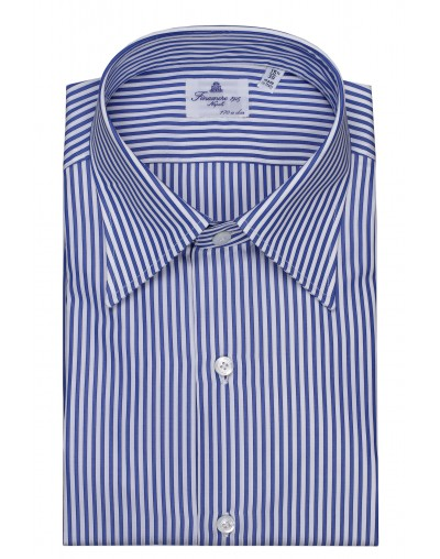 Dress shirt Finamore Napoli170/2 Kent collar Carlo blue white stripe