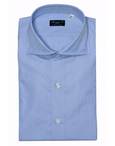Dress shirt Finamore 1925 Napoli fil a fil light blue 01057703