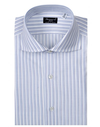 Dress shirt Finamore 1925 regular cotton dark blue and light blue stripe