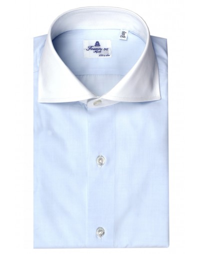 Finamore Napoli 170/2 dress shirt light blue eduardo white collar