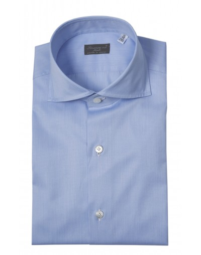 Finamore 1925 dress shirt classic light blue twill cotton 012557