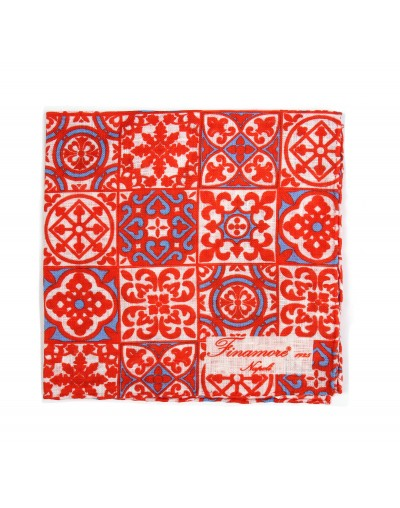 Pocket square 36 06 Finamore 1925 red majolica pattern linen