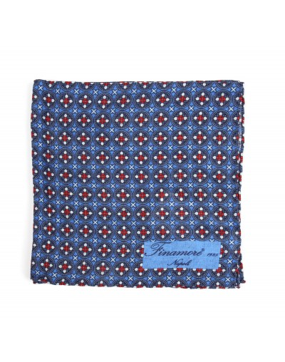 Pocket square 36 13 Finamore 1925 blue geometric pattern linen