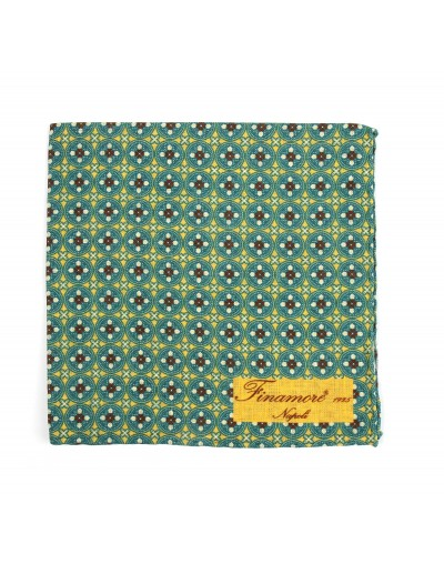 Pocket square 36 16 Finamore 1925 green geometric pattern linen